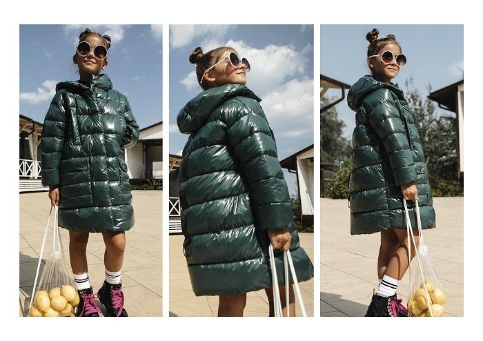 Пальто для девочки С-683 зеленое фото