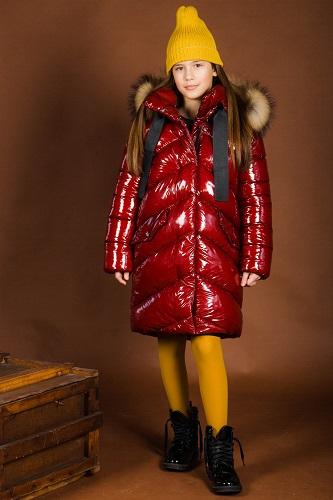 Пальто для девочки ЗС-880 винного цвета