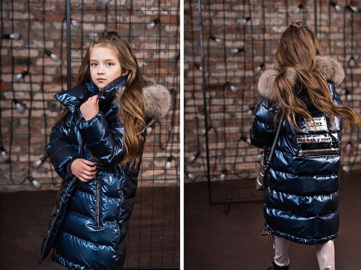Пальто для девочки З-871 синее