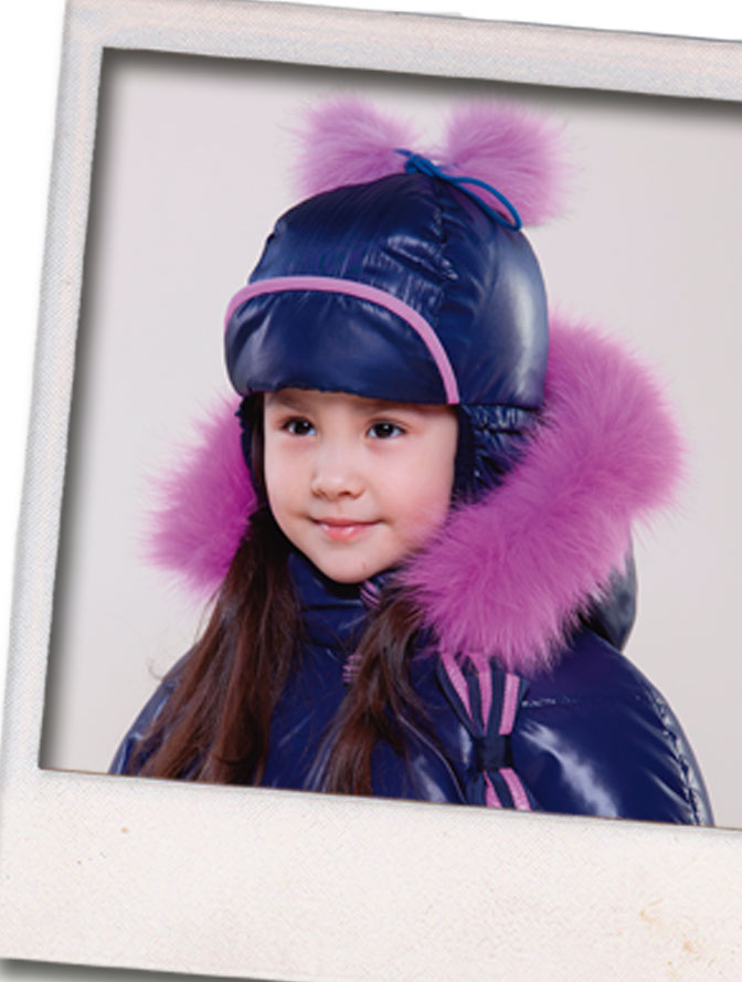 детские шапки с меховым помпоном