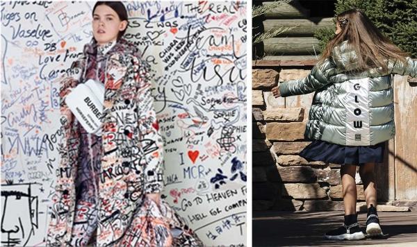 крупные графичные принты и надписи в одежде фото